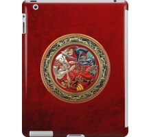 Celtic Treasures - Three Dogs on Gold and Red Velvet iPad Case/Skin