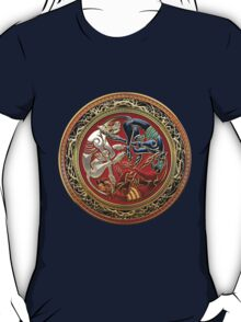Celtic Treasures - Three Dogs on Gold and Red Velvet T-Shirt
