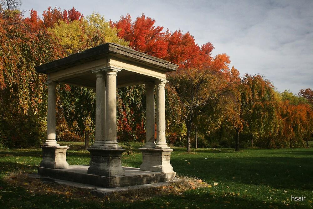 Stone gazebo in fall by hsair