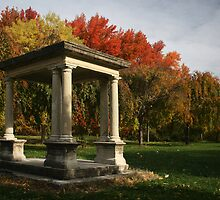 Stone gazebo in fall by hsair