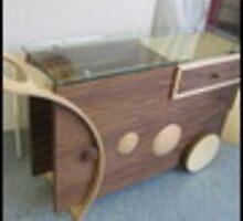 modern tea trolley in walnut maple by paddythecool