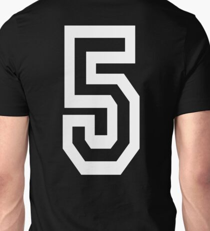 5, TEAM, SPORTS, NUMBER 5, FIFTH, FIVE, Competition, white on black Unisex T-Shirt