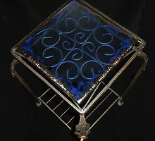 Metal Table with Azure & Gold Glass  by Kaz Rhoads