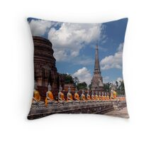 Buddhas And Temple Ruins Throw Pillow