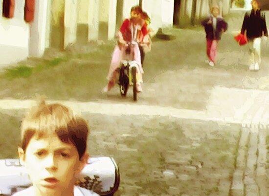 Boy Running Down A Stone Street (detail) by Craig Schroeder