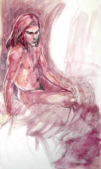 Male nude : ink and gouache drawing by Roz McQuillan