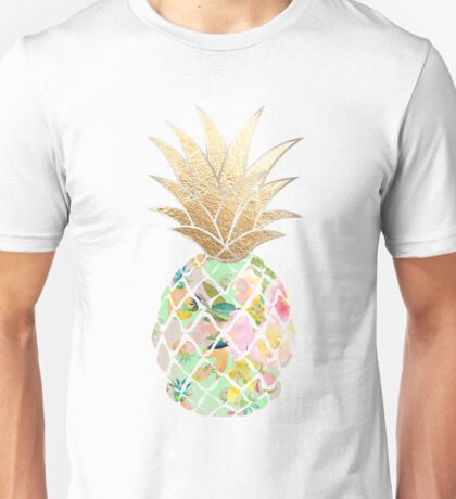 Aloha pineapple, mint green + faux gold Unisex T-Shirt