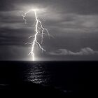 Dusk lightning over sea by Duncan Waldron