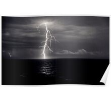 Dusk lightning over sea Poster