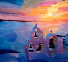 Santorini Greece View from Oia during Sunset  by artshop77