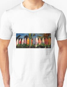 Beach Scene with Wall of Surf Boards Hawaii II T-Shirt