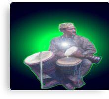 Green Ray Drummer Canvas Print