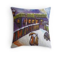 Railway station snowscene from my original acrylic painting Throw Pillow