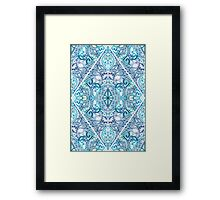 Blue and Teal Diamond Doodle Pattern Framed Print