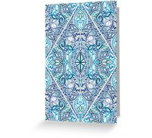 Blue and Teal Diamond Doodle Pattern Greeting Card