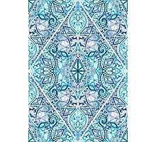 Blue and Teal Diamond Doodle Pattern Photographic Print
