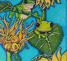 Frogs'n flowers by saraellenbell