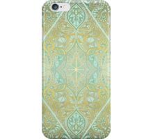 Mint & Gold Effect Diamond Doodle Pattern iPhone Case/Skin