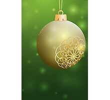 Christmas Ball with Golden decor Photographic Print