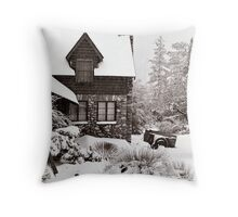 Mt. Baldy Cabin in a Snowstorm Throw Pillow