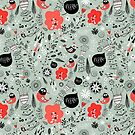 graphic natural pattern with birds by Tanor