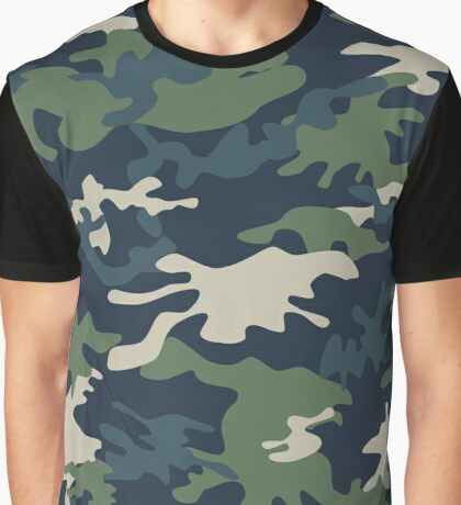 Green Military Pattern 2 Graphic T-Shirt