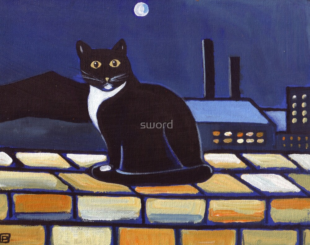 Industrial cat  (from my original acrylic painting) by sword
