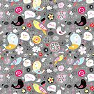 graphic pattern of birds by Tanor