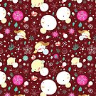 graphic winter pattern with snowmen by Tanor
