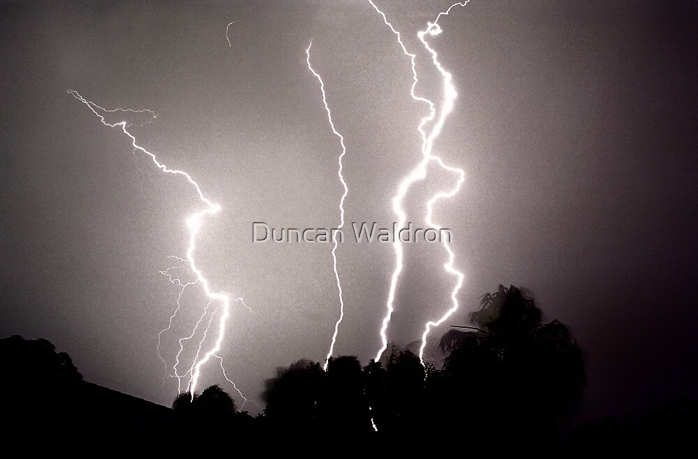Lightning - 4 strikes by Duncan Waldron