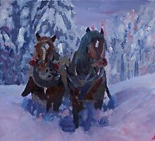 Winter Sled Horses Stomping through Snow by artshop77