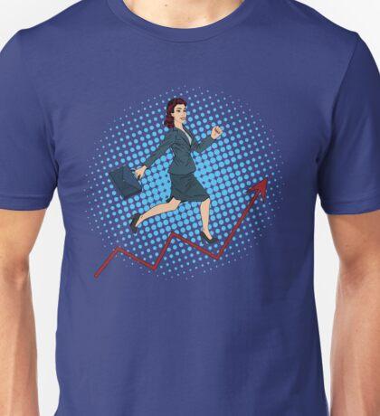 Success in Business. Pop Art Businesswoman Climbing Up the Career Ladder Unisex T-Shirt