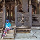 Myanmar. Wooden Monastery. Posing Young Lady. by vadim19