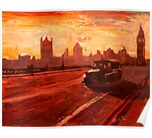 London Taxi Big Ben Sunset with Parliament Poster