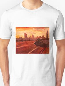 London Taxi Big Ben Sunset with Parliament T-Shirt