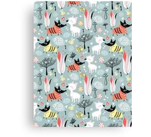 funny pattern of lovers dogs Canvas Print
