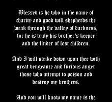 Ezekial 25:17 (Old English Black & White) by Roz Abellera Art Gallery
