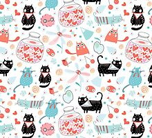 pattern of funny cats in love by Tanor