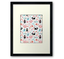 pattern of funny cats in love Framed Print