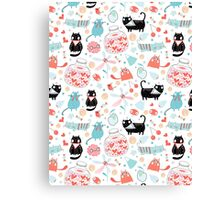 pattern of funny cats in love Canvas Print