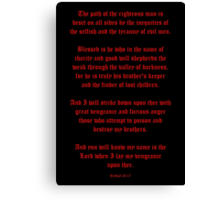 Ezekial 25:17 (Old English Black and Red) Canvas Print