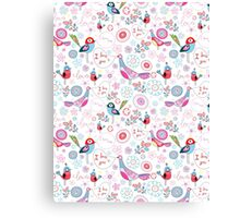 funny pattern of talking birds Canvas Print