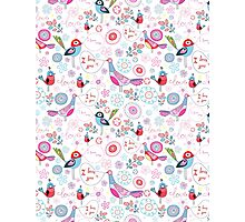 funny pattern of talking birds Photographic Print