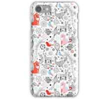 graphic floral pattern with cats and birds iPhone Case/Skin