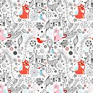 graphic floral pattern with cats and birds by Tanor