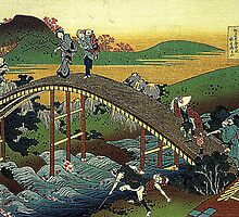 'Travelers on the Bridge Near The Waterfall of Ono' by Katsushika Hokusai (Reproduction) by Roz Abellera Art Gallery