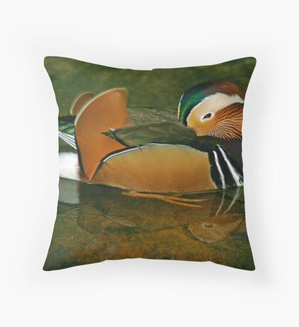 Sleepy Mandarin Duck Throw Pillow