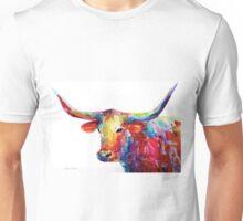 Colorful Texas Longhorn watercolor painting Svetlana Novikova Unisex T-Shirt