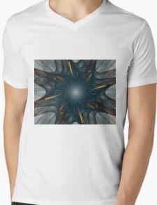 Blue and Gold Flower Mens V-Neck T-Shirt