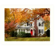 Autumn with a red door Art Print